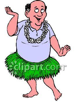 Man Doing A Hula Dance Wearing A Grass Skirt Royalty Free Clipart Hula Dancers Clip Art Hula