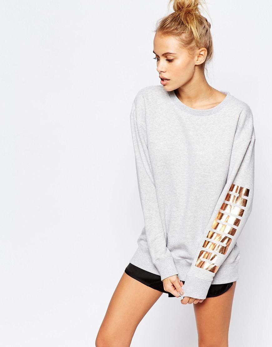 Puma Oversized Crew Neck Sweatshirt With Rose Arm Gold Logo