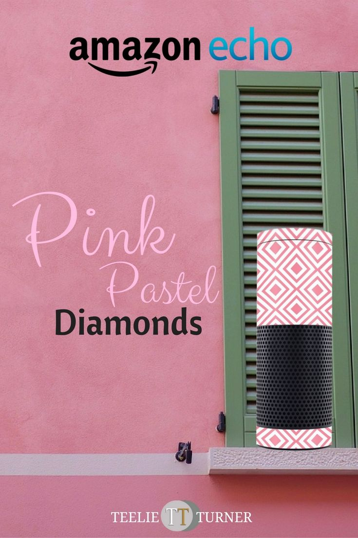 Pink Pastel Diamonds Design Skin – www.theteelieblog.com You can't help staring at your adorable Alexa. #alexaskin