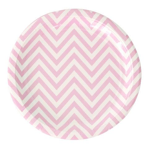"24 Pink Chevron Paper Plates 9"" Paper Plates Light Pink ..."