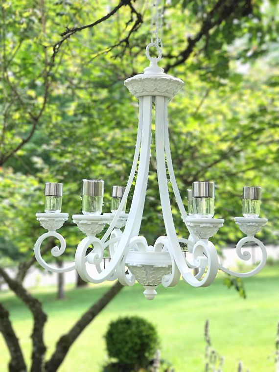 Outdoor Chandelier, Wedding Chandelier, Solar Powered, Garden Chandelier,  Solar Lights, Solar Light Chandelier, Vintage Chandelier