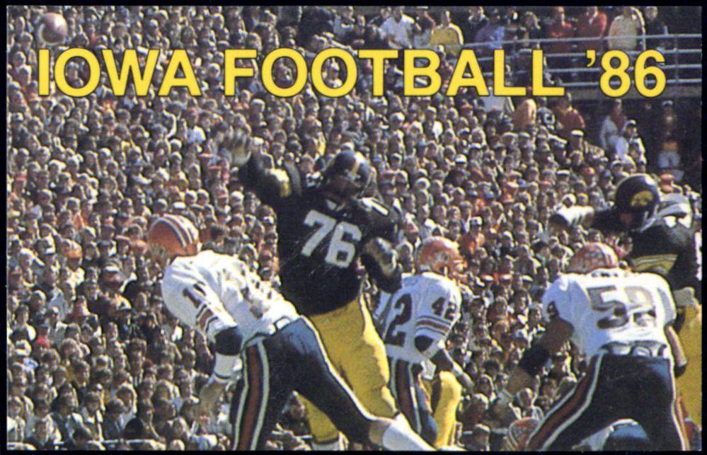 1985 IOWA HAWKEYES WHO 1040 RADIO FOOTBALL POCKET SCHEDULE