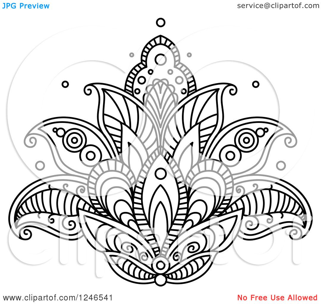 Clipart of a Black and White Henna Lotus Flower 15