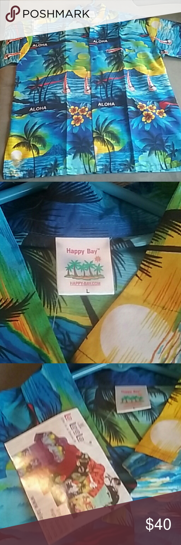 5c13c8fc Men's L nwt happy Bay shirt 100% Terivoile New with tags men's large  tropical Hawaiian shirt made by Happy Bay 100% Terivoile has a silky feel  very bright ...