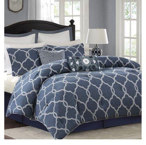 Bayfront Denim Blue And White Comforter Set Comforter Sets Blue And White Comforter Blue Comforter Sets