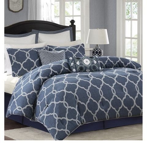 Bayfront Denim Blue And White Comforter Bedding Set Coordinates