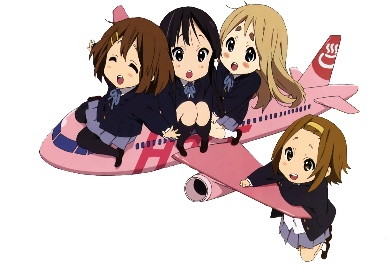 K ON AIRLINES KEION AIRLINE YUI MIO MUGI RITSU CHIBI CHIBIS TRANSPARENT ANIME