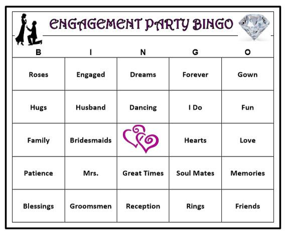 picture relating to Printable Bingo Game Patterns named Engagement Celebration Bingo Video game (60 Playing cards) Marriage ceremony Themed Bingo