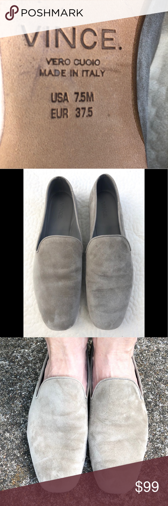 d9b61d5a96b VINCE grey suede MILO flats shoes 7.5 37.5 loafers Vince s Milo loafers flats  in pewter