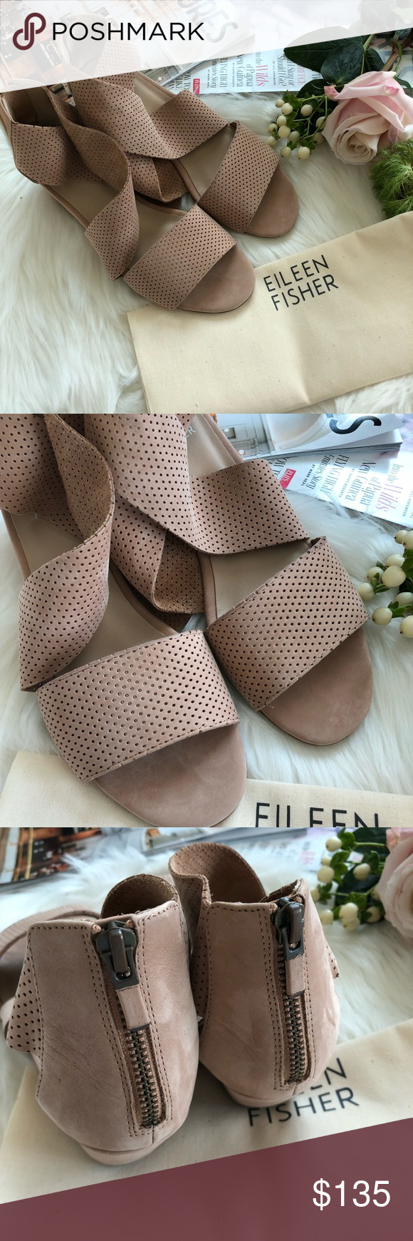 c2089c3739b2 Eileen Fisher Kes 2 Perforated Wedge Sandal 🌷Please Read the description  and review all photos