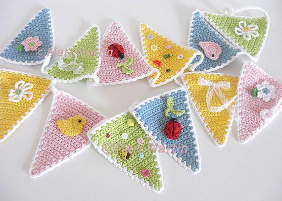 Crochet Bunting Garland Pattern Garden Flower Wall Decor Kids Bird Spring Decor Nursery Decoration Baby Shower Download Immediately