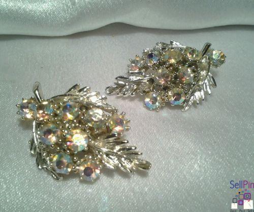 $14.25: Vintage Silver BSK Aurora Borealis Rhinestone Shiny Estate Textured Earrings