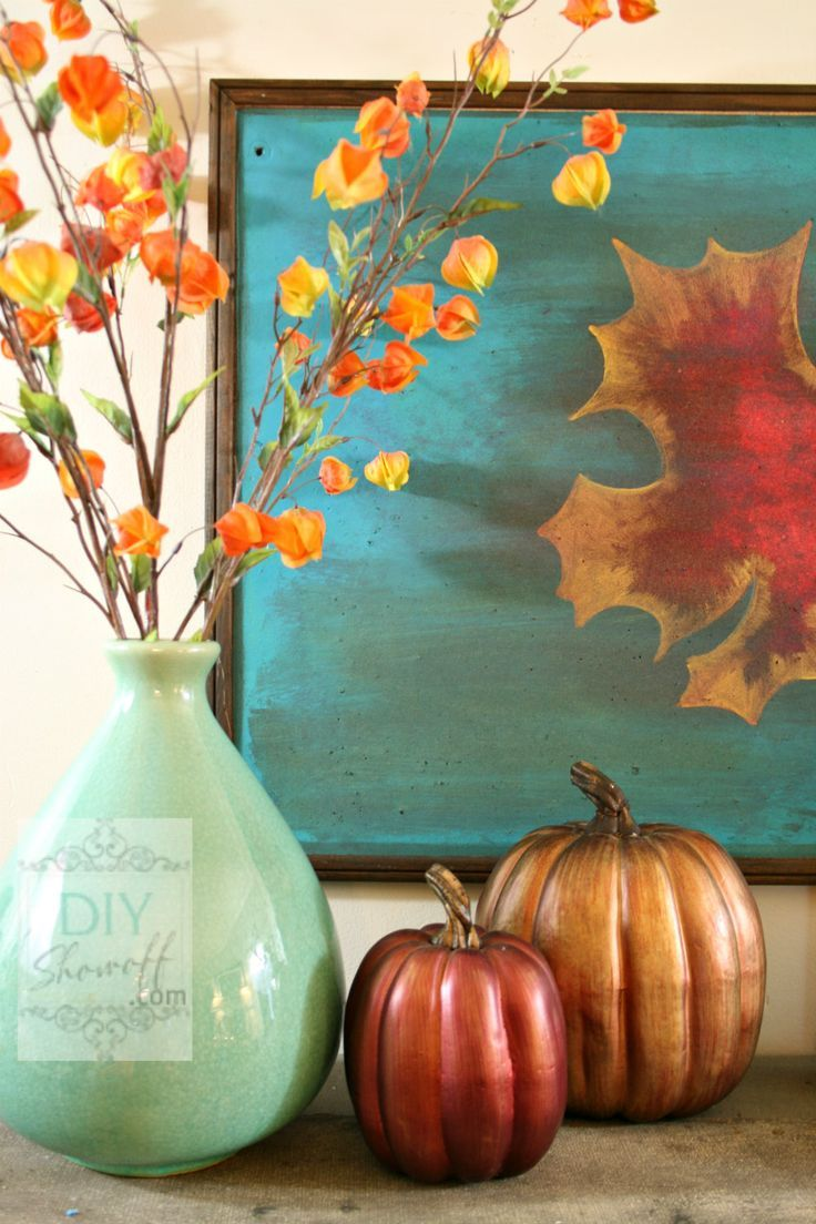 Autumn Warmth Red And Turquoise Fall Mantel Autumn