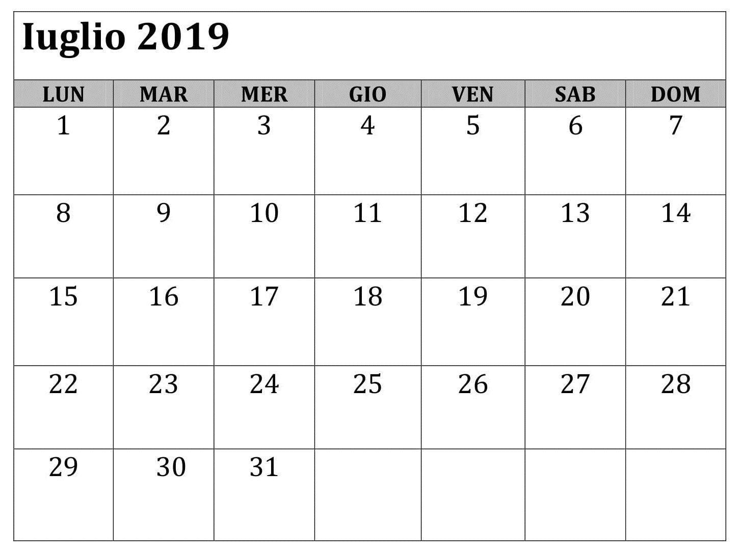 Calendario Ottobre 2020 Excel.Iuglio Calendario Mensile 2019 Da Stampare Calendario