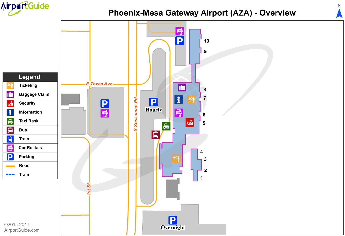 Phoenix - Phoenix-Mesa Gateway (AZA) Airport Terminal Map - Overview ...