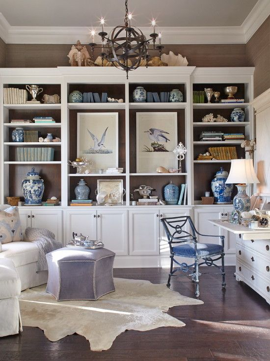 Admirable Beach Style Home Office With White Elegant Built In
