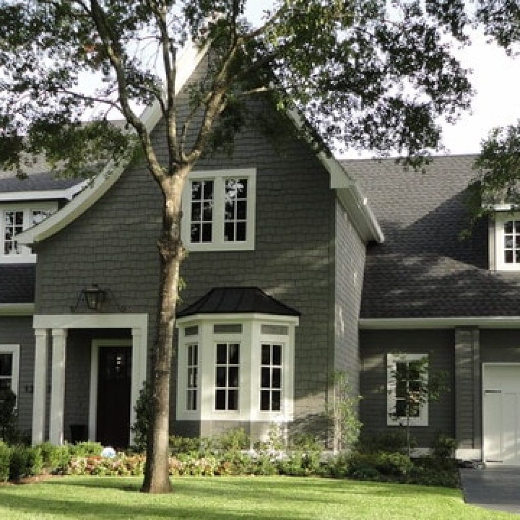 Traditional Home Exterior Design among Grey Wall Siding Combined ...