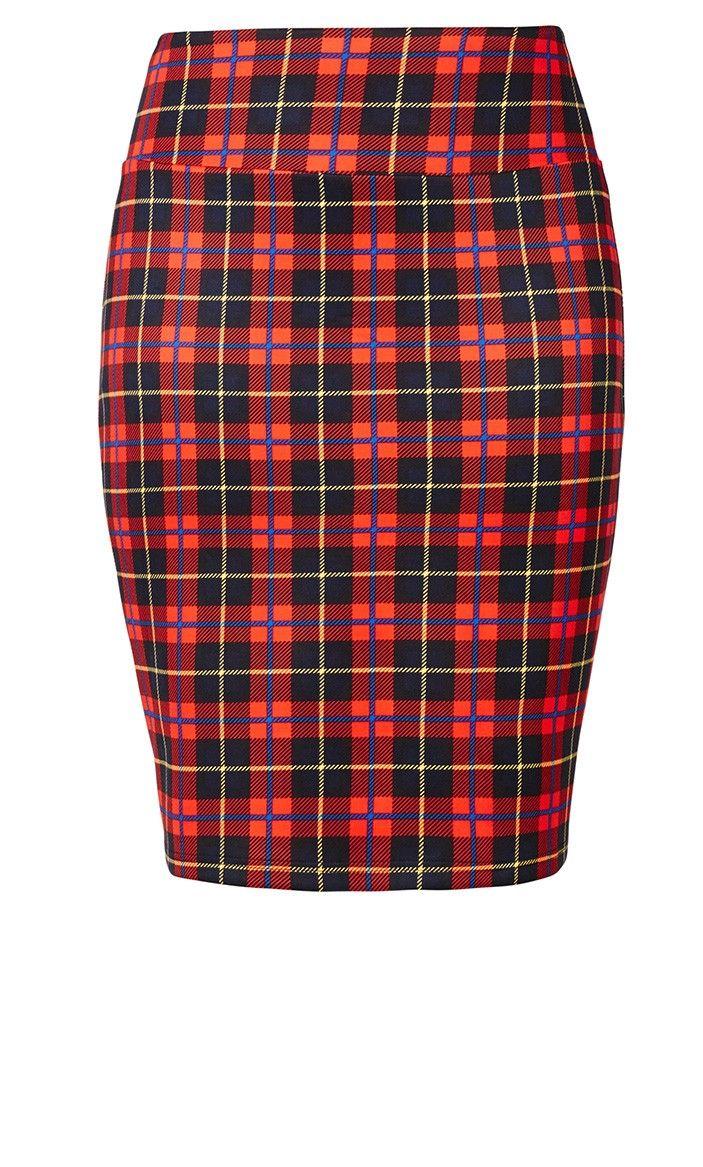 9dbcf3b226 Plus Size Tartan Girl Skirt - City Chic | Young & Curvy | Fashion ...