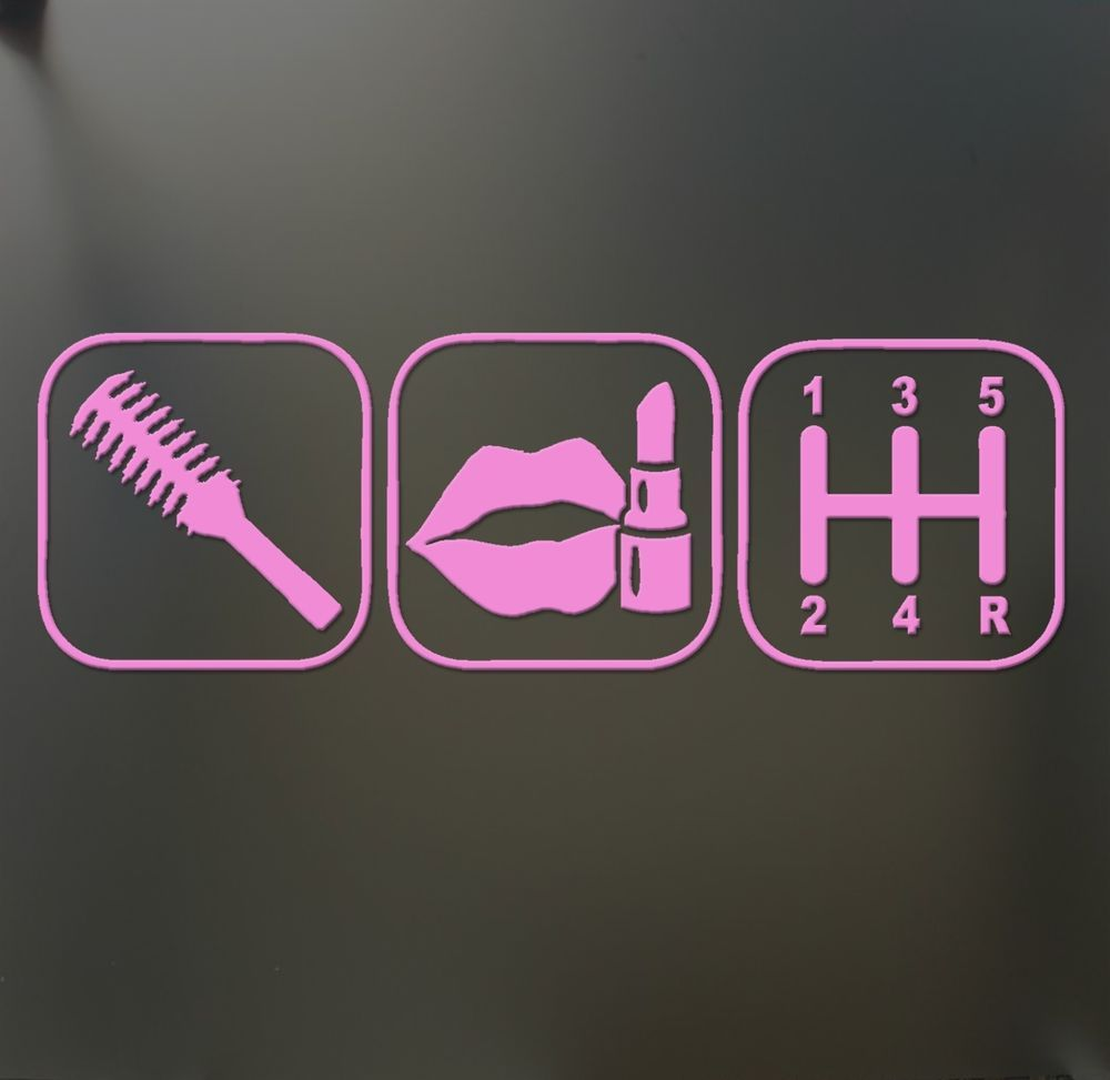 Brush Makeup Shift Girl Lipstick Sticker Funny Jdm Race Car Window