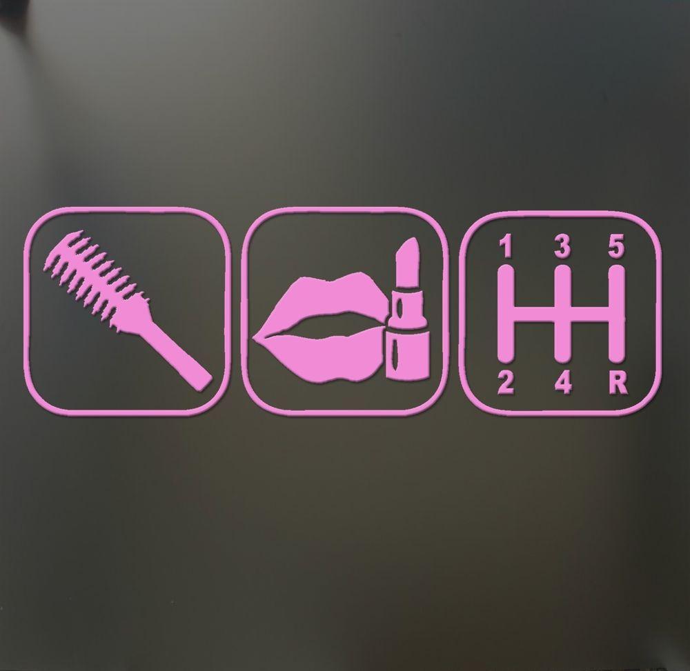 Brush Makeup Shift Girl Lipstick Sticker Funny JDM Race Car Window - Custom race car window decalsreal women usepedals sticker funny jdm honda girl race car