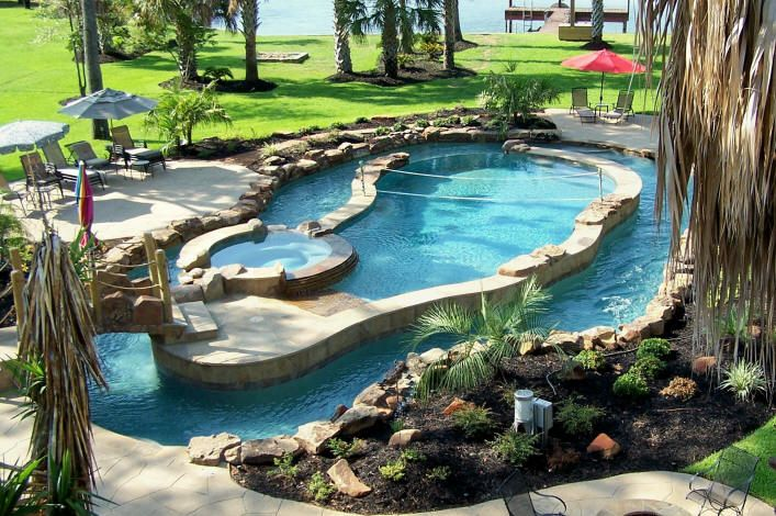 Pool Hot Tub Lazy River Bridge I M Just Going To Sit In The Corner And Weep Quietly To Myself Backyard Pool Swimming Pool Designs Pool Landscaping