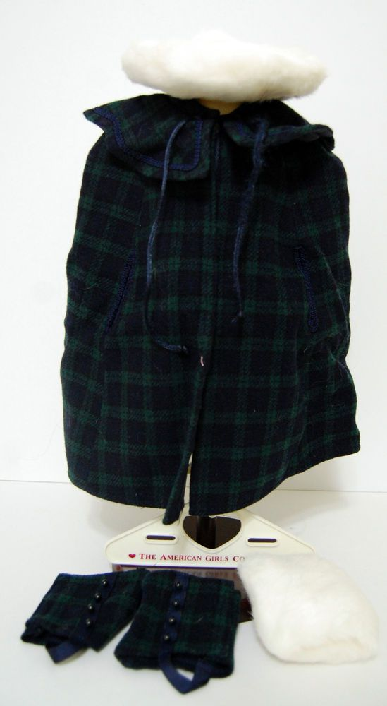 American Girl Samantha Plaid Cape Gaiters Elegant Hat Muff White Fur Doll   #AmericanGirl #ClothingShoes