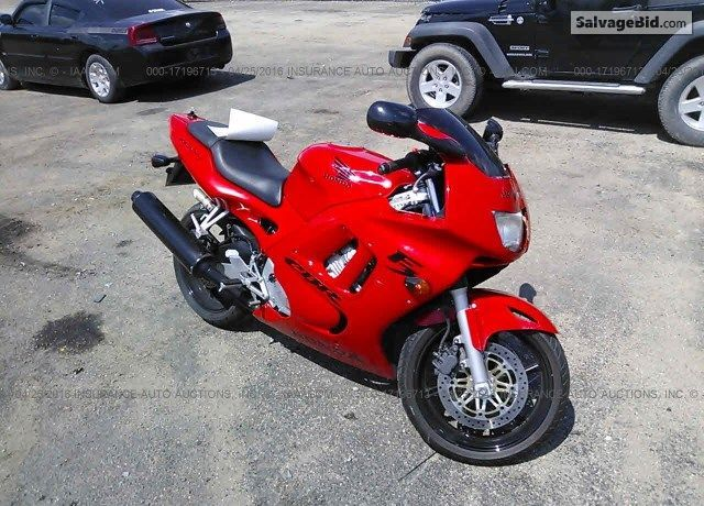 Salvage Red Honda Cbr600 Online Auction At Eminence Ky Place