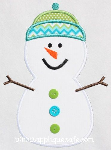 Snowman with buttons applique and one with Lights Applique Design