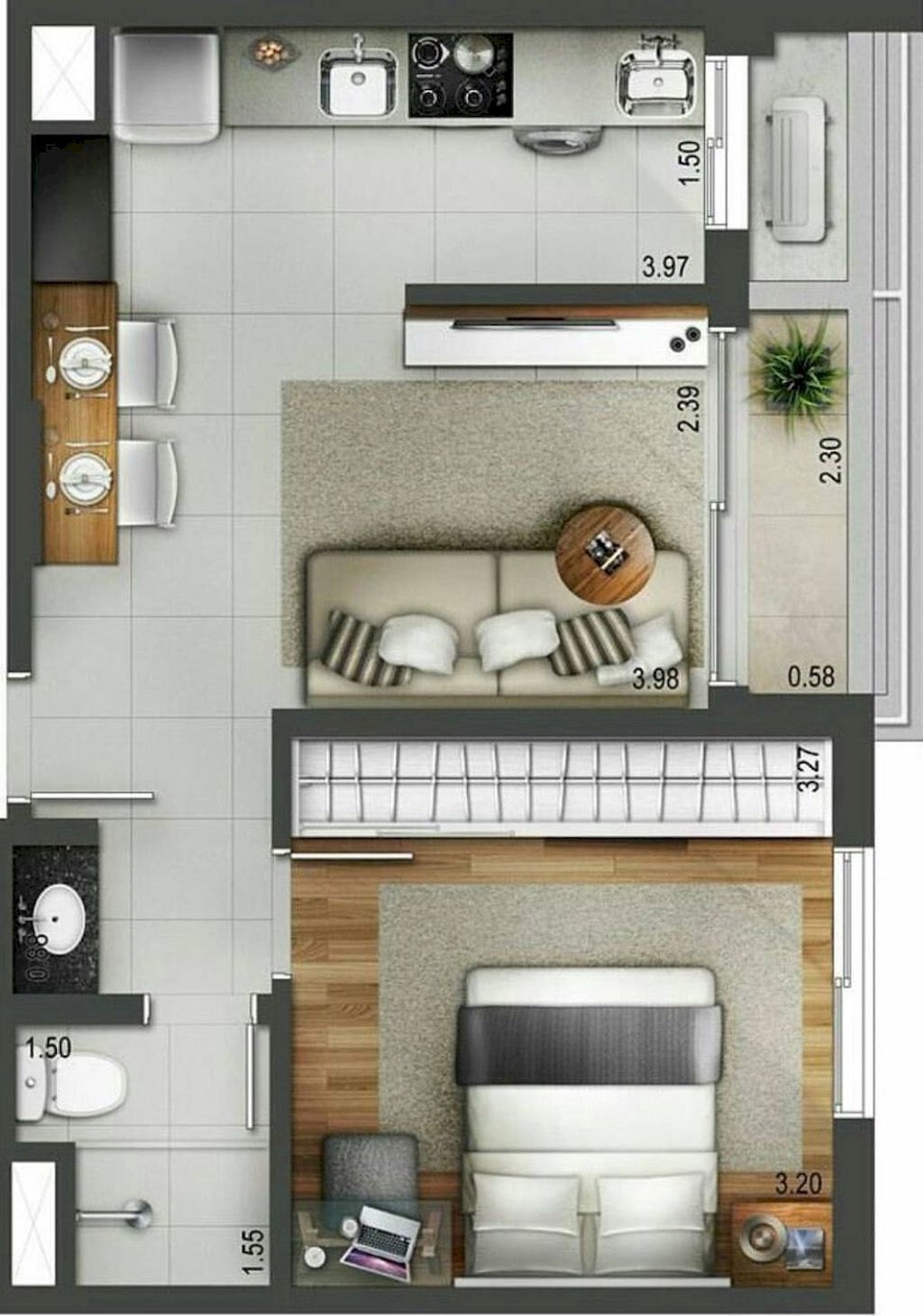 100 Small Studio Apartment Layout Design Ideas Home Design Denah Rumah Ide Apartemen Apartemen