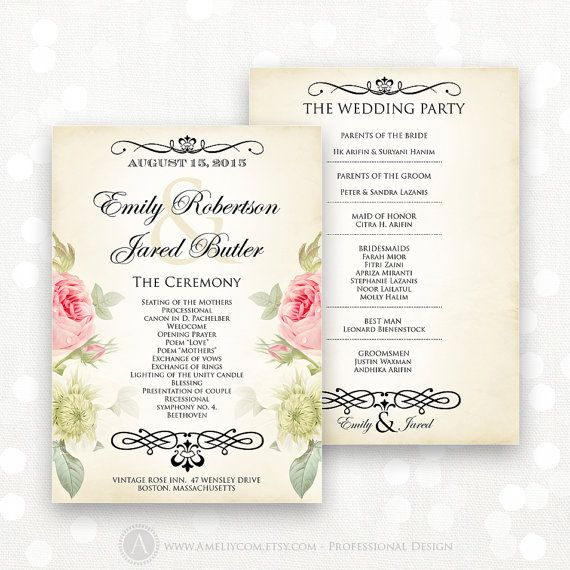 Printable Wedding Programs Editable Template Instant Etsy Wedding Programs Printable Wedding Programs Wedding Printables