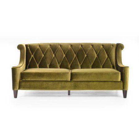 Armen Living Barrister Green Velvet Sofa