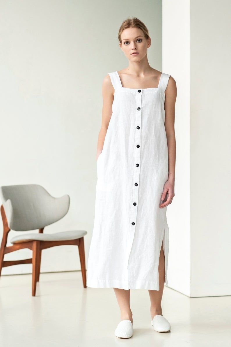 White Linen Dress Outfit For Rustic Bride For Vintage Bride For Boho Bride And Simple Bride It Is Also Perf Simple Dresses Linen Dresses Simple Dress Casual [ 1191 x 794 Pixel ]