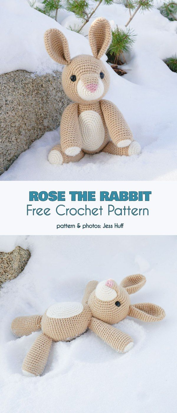 Rose the Rabbit Free Crochet Pattern #eastercrochetpatterns