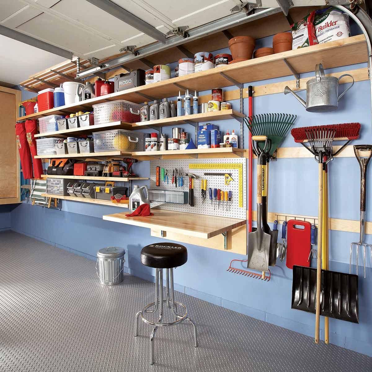 51 Brilliant Ways To Organize Your Garage Garage Wall Storage Garage Storage Shelves Diy Garage Shelves