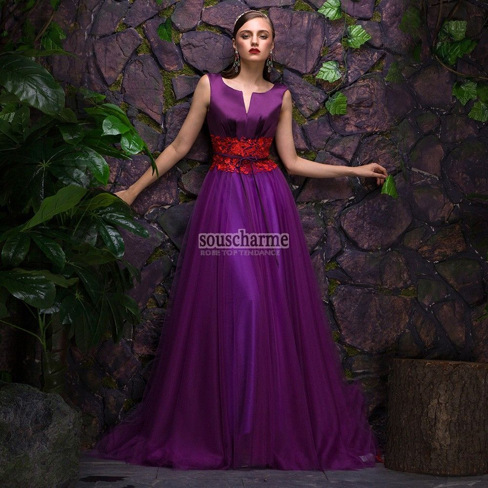 Robe de soirée longue violette Aligne en satin et tulle
