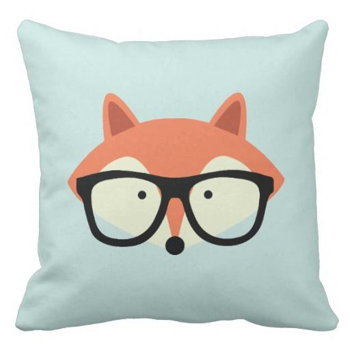 Cute Hipster Red Fox Throw Pillow