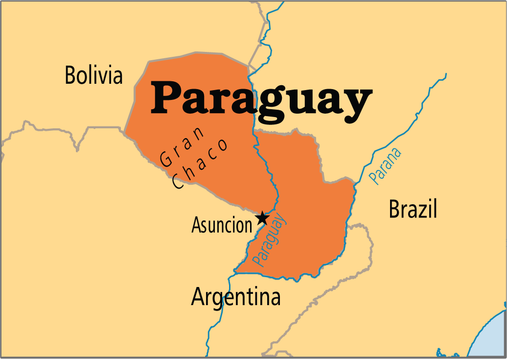 The Paraguay River divides the more fertile and developed east from ...