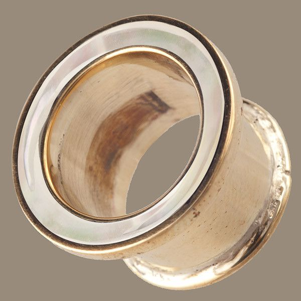 Brass Plug with Mother of Pearl