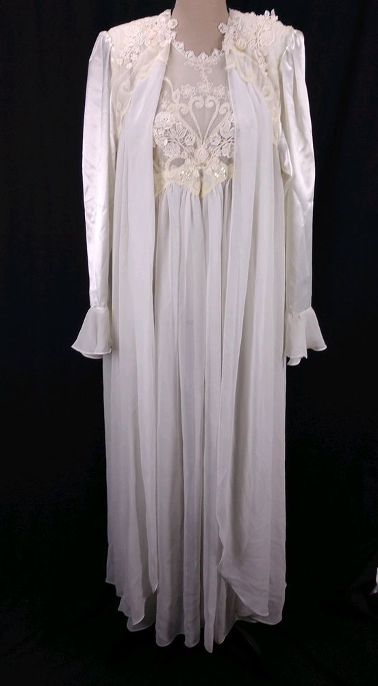 Wisteria Diane Samandi Peignoir Set M White Sheer