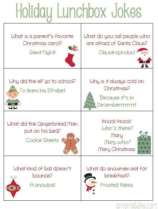 Free Printable Holiday Lunchbox Jokes For Kids Plus A Cute Christmas Bento Idea Making More Freetime Cf Christmas Jokes For Kids Christmas Card Sayings Christmas Jokes