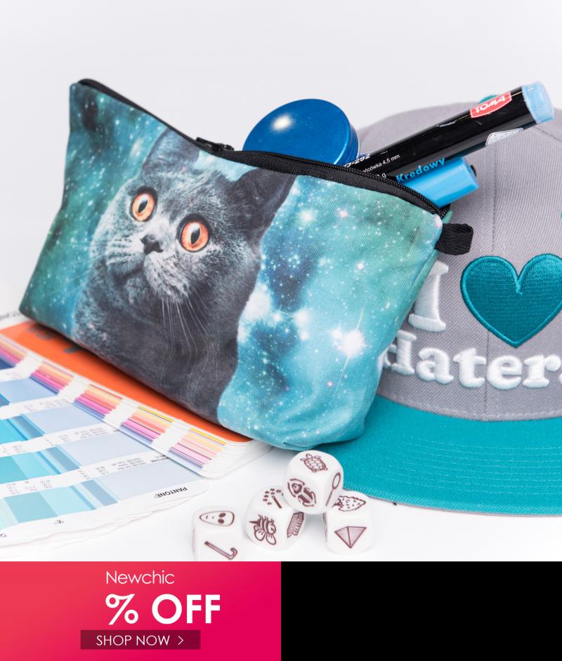 Cat 3D Printing MultiFunctional Cosmetic Bag Clutch Bag