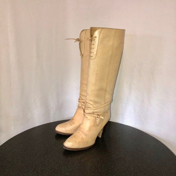 f46f9198e9972 Sz 9 Vintage Tall Vanilla Genuine Leather 1970s Women Pull On Stack ...