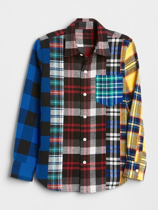 b1ffc8c23f7057 Gap Boys Mix-Plaid Flannel Shirt Modern Red | Products in 2019 ...
