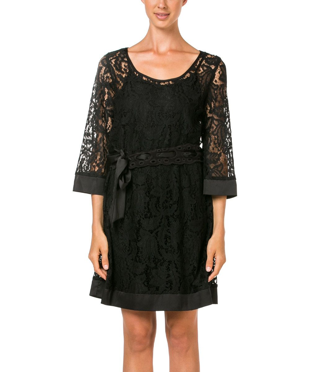 Look at this miilla  Black Woven Lace Belted Dress on #zulily today!