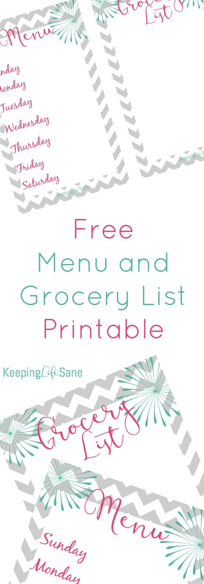 menu and grocery list free printable | menu, saving money and planners