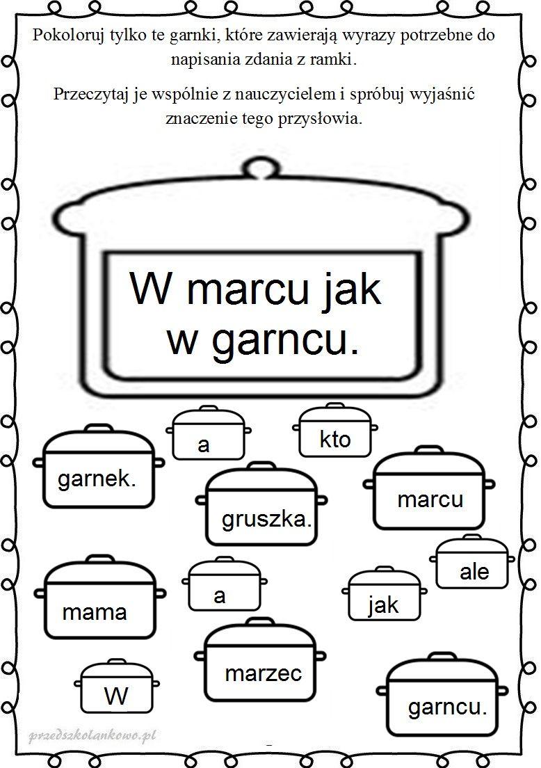 Marcowa Pogoda Karty Pracy Przedszkolankowo Polish Language Education Kids And Parenting