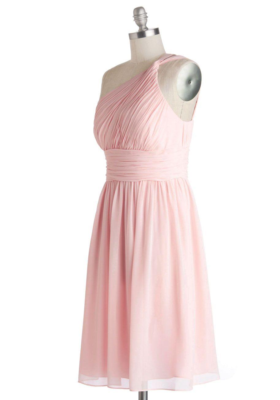 Magnetic aline one shoulder knee length chiffon bridesmaid dress