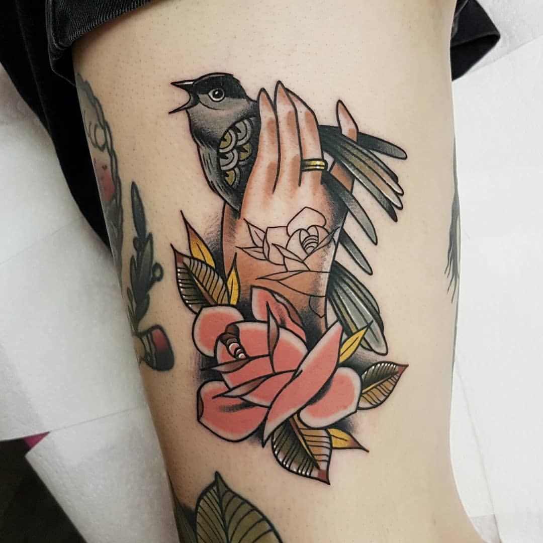 17+ Stunning Bird tattoo on hand prison image ideas