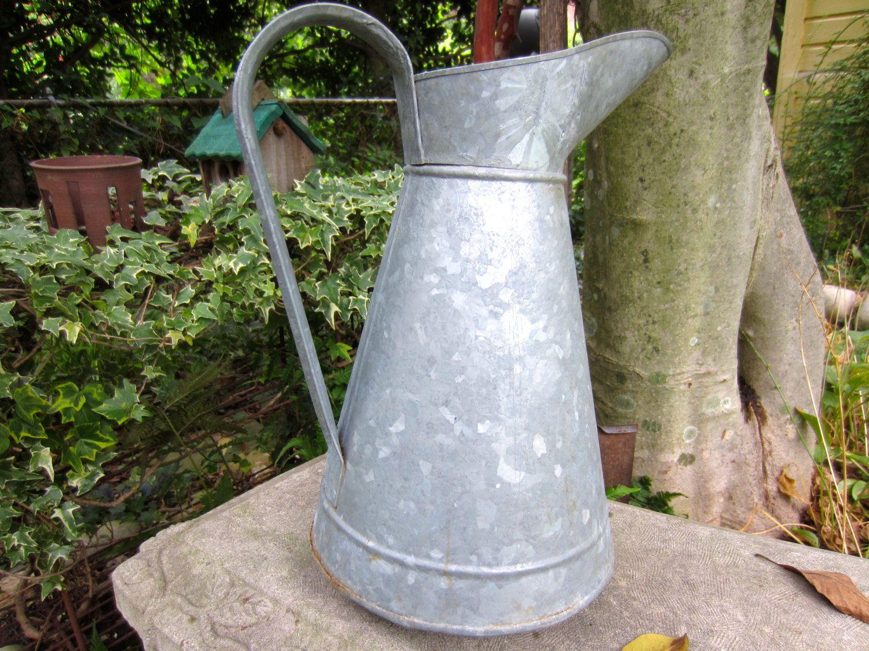 vintage french galvanized zinc pitcher rare garden water jug