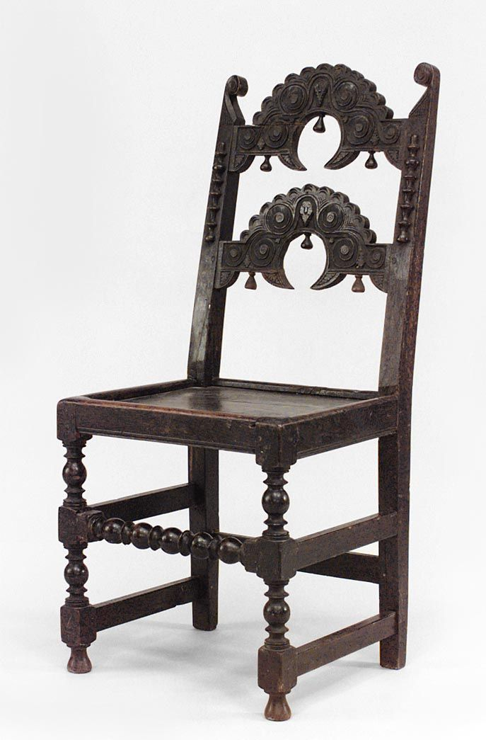 English Charles II Oak U0027Derbyshireu0027 Side Chair With 2 Arched Horizontal  Splats Above A Plank Seat U0026 Turned Legs Joined By Stretchers Century And  Later)